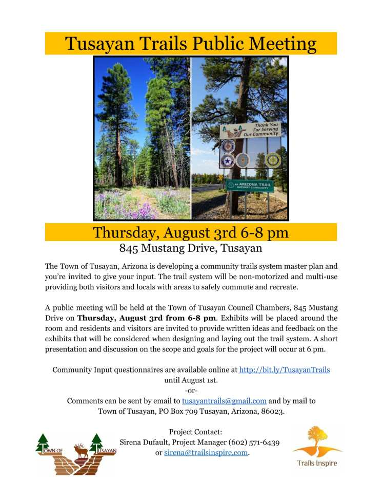 Tusayan Trails Public Meeting Flyer